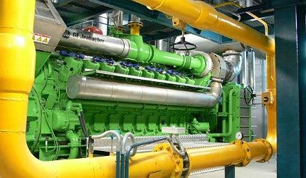 A Jenbacher cogeneration gas engine, one of 12 installed at the Sasyadko mine, Ukraine.