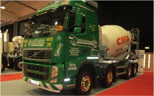 CIFA mixer on a Spanners Mixer Hire truck, UK.