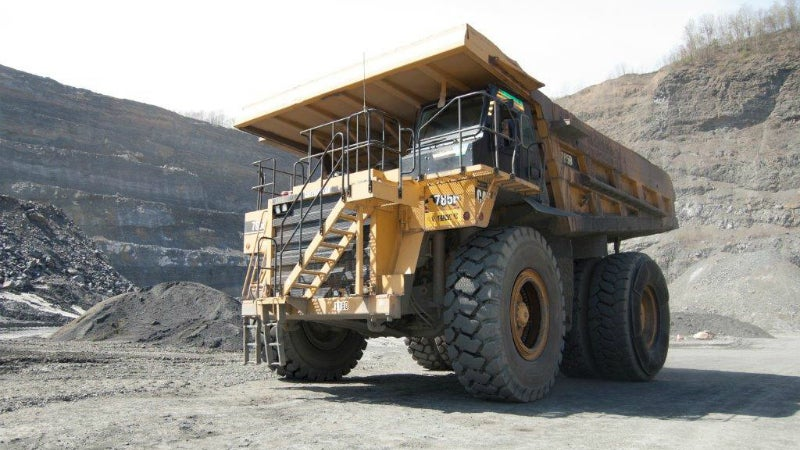 yellow dump truck in quarry