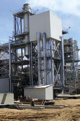 LOESCHE LOMA® type LF 42 steel combustion chamber for burning wood dust.